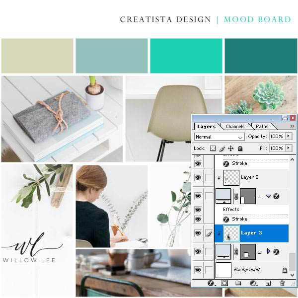Blog brand mood board plus free Photoshop template