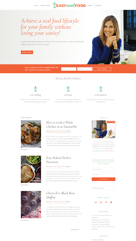 Easy Real Food - website by Creatista Design