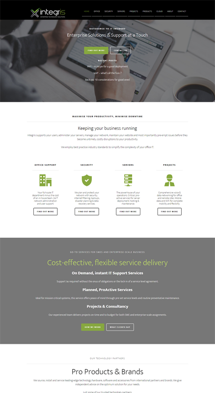 Integris Enterprise Solutions website designed by Creatista Design